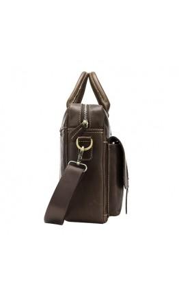 Коричневая кожаная деловая сумка M8503R