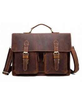 Кожаный мужской удобный портфель, коричневый M9033