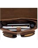 Фотография Кожаный мужской удобный портфель, коричневый M9033