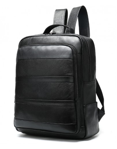 Фотография Мужской черный кожаный рюкзак M8878A