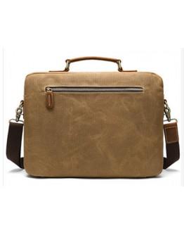 Коричневая мужская тканево-кожаная сумка M9772C