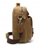 Фотография Коричневая мужская тканево-кожаная сумка M9772C