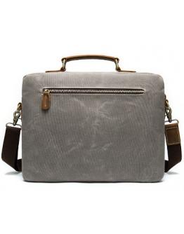 Серая мужская тканево-кожаная сумка M9772J