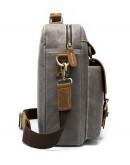 Фотография Серая мужская тканево-кожаная сумка M9772J