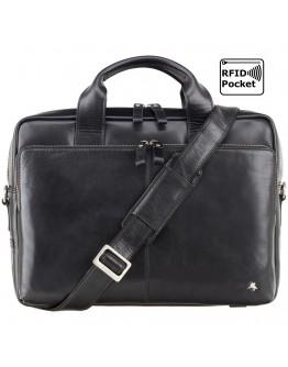 Черный кожаный мягкий портфель Visconti ML31 (Black)