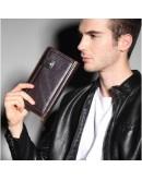Фотография Коричневый кожаный клатч мужской Ms003B