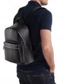Фотография Кожаный черный мужской небольшой рюкзак NB52-0910A