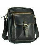 Фотография Черная кожаная вместительная сумка NM15-1783A-1
