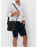 Фотография Кожаная сумка мужская на плечо черная NM15-2536A