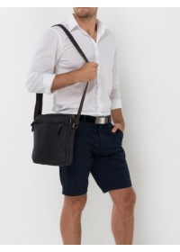 Кожаная сумка мужская на плечо черная NM15-2536A