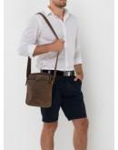 Фотография Кожаная сумка мужская на плечо коричневая NM15-2536C