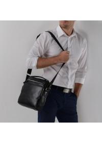 Вместительная черная сумка мужская на плечо NM17-0097-5A