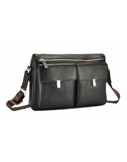 Фотография Мужская коричневая кожаная сумка на плечо NM17-2812-3C
