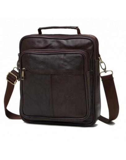 Фотография Кожаная мужская повседневная коричневая сумка NM24-103C