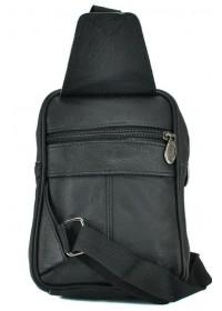 Черный небольшой кожаный мужской слинг NM24-136A
