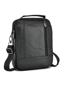 Черная мужская удобная небольшая сумка на плечо NM24-213A