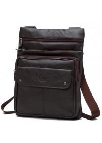 Коричневая мужская кожаная недорогая сумка NM24-606C
