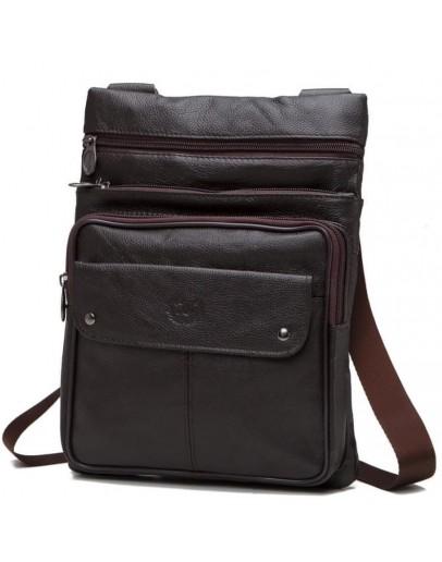 Фотография Коричневая мужская кожаная недорогая сумка NM24-606C