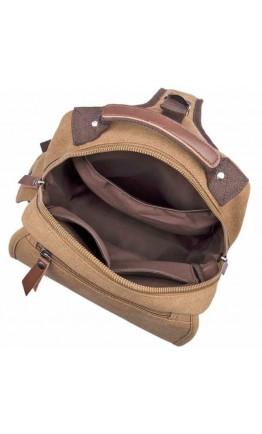 Тканевый кожаный мужской коричневый рюкзак OEM-9031C