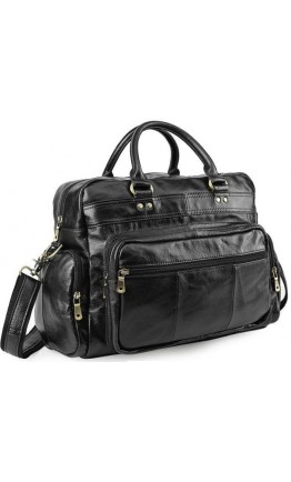 Кожаная черная сумка для ноутбуков и документов P6626