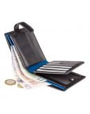 Фотография Черный удобный кошелек Visconti PM102 Leonardo c RFID (Black Blue)