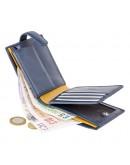 Фотография Синий кожаный кошелек Visconti PM102 Leonardo c RFID (Blue Mustard)