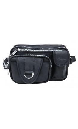 Черная сумка на пояс из плотной винтажной кожи Tarwa RA-1560-4lx