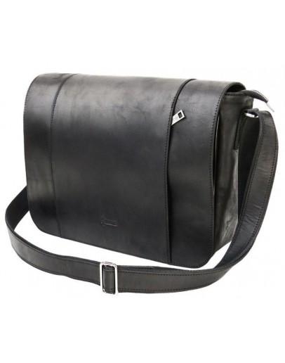 Фотография Мужская черная кожаная большая сумка на плечо Tarwa RA-7338-4lx