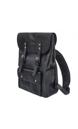 Черный кожаный брутальный мужской рюкзак Tarwa RA-9001-4lx