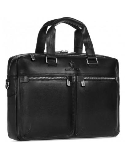 Фотография Черная деловая мужская кожаная удобная сумка Royal RB001A