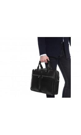 Черная деловая мужская кожаная удобная сумка Royal RB001A