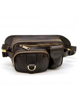 Коричневая кожаная мужская сумка на пояс Tarwa RC-1560-4lx