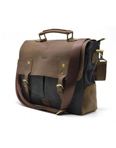 Фотография Портфель - сумка тканевая с кожаными вставками Tarwa RC-3960-B