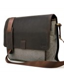 Фотография Мужская сумка на плечо серо-коричневая тканево-кожаная Tarwa RG-3940-4lx