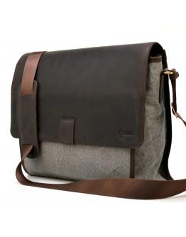 Мужская сумка на плечо серо-коричневая тканево-кожаная Tarwa RG-3940-4lx