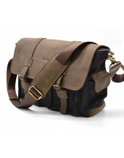 Фотография Большая мужская сумка на плечо, кожа и ткань Tarwa RG-6690-4lx