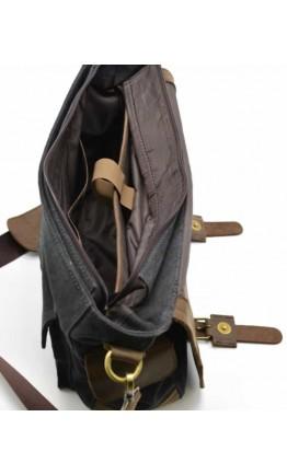 Большая мужская сумка на плечо, кожа и ткань Tarwa RG-6690-4lx