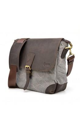 Тканевая серо-коричневая мужская сумка Tarwa RGj-1309-4lx