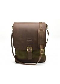 Большая мужская сумка на плечо из кожи и ткани Tarwa RH-1808-4lx