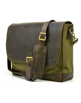 Большая мужская сумка на плечо кожа+ткань Tarwa RH-1809-4lx