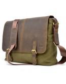 Фотография Большая мужская тканево-кожаная сумка на плечо Tarwa RH-8336-4lx