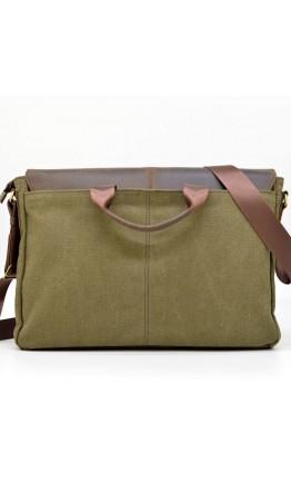 Большая мужская тканево-кожаная сумка на плечо Tarwa RH-8336-4lx
