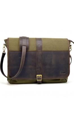 Большая деловая мужская тканево-кожаная сумка Tarwa RH-8880-4lx