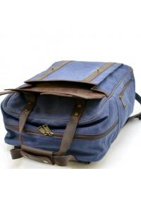 Рюкзак синего цвета из натуральной кожи и ткани Tarwa RK-3943-4lx