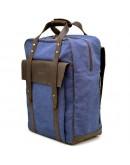 Фотография Рюкзак синего цвета из натуральной кожи и ткани Tarwa RK-3943-4lx