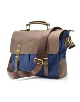 Мужская сумка синего цвета ткань и кожа Tarwa RK-3960-3md
