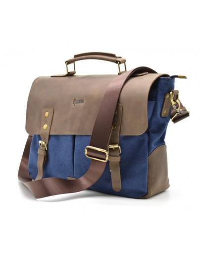 Фотография Мужская сумка синего цвета ткань и кожа Tarwa RK-3960-3md
