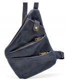 Фотография Мужская синяя кожаная сумка на плечо - слинг Tarwa RK-6402-3md