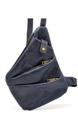 Мужская синяя кожаная сумка на плечо - слинг Tarwa RK-6402-3md