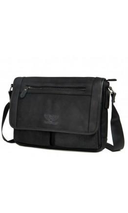 Мужская кожаная серо-черная сумка через плечо RR-8387A